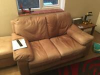 Tan Leather Sofa, Chair & Footstall