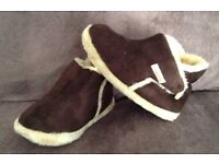 BROWN & CREAM FUR LINED SLIPPERS