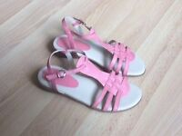 Ladies sandals. Leather. Size 4 (also fits 4.5). Slightly wedged sole. Excellent condition.