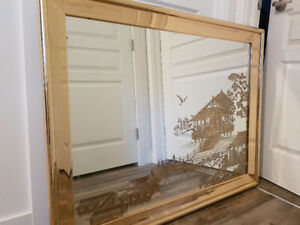 REDUCED-Asian inspired etched Mirror