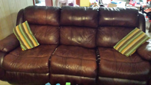 Leather couch..recliner ends