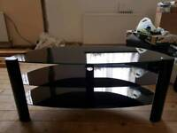Black glass led tv stand
