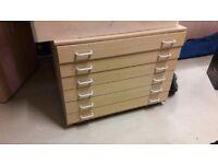 Wooden 6-Drawer Plan Chest On Wheels