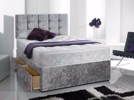 BRAND NEW Double Kingsize Crushed Velvet Fabric Divan Bed Bases with Mattress of choice, headboard
