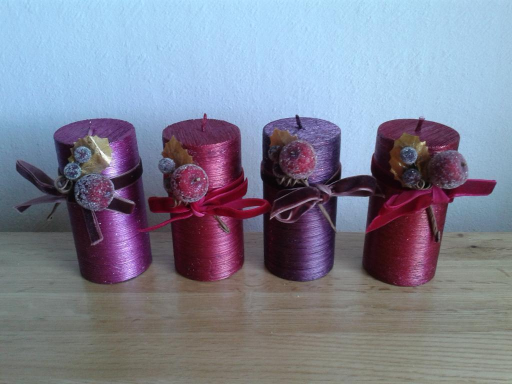 Set of four Christmas candles