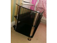 Large black and silver tv unit
