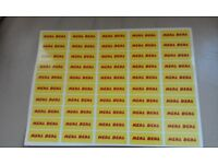 Yellow and red meal deal stickers