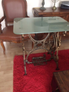 Antique metal-glass table.