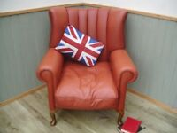 Stunning Tan Leather and Materiel Tetrad Blake Chair.