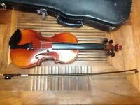 Full Size Violin with Bow and Hard Case