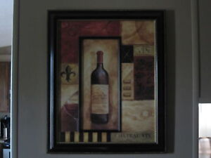 Picture of wine bottle - red and cream in color