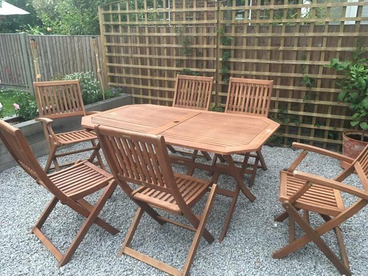robert dyas country hardwood 6 seater fsc wood garden furniture set