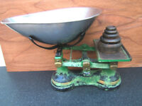 SET OF VINTAGE GROCERS SCALES - CENTREPIECE - USE OR DECOR - IMPERIAL - SEE PHOTOS
