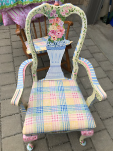 Beautiful hand painted wooden chair