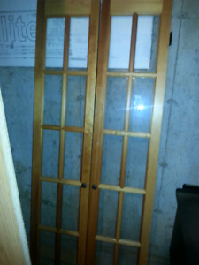 Interior pine doors with glass panes