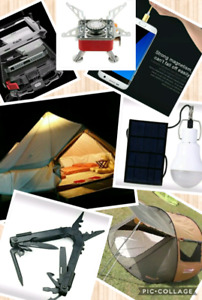 Camping gear gadgets, tent, cot, hunting, sport goods store