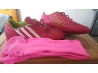 In good condition Adidas Astoturf Size 8 with matching football socks.