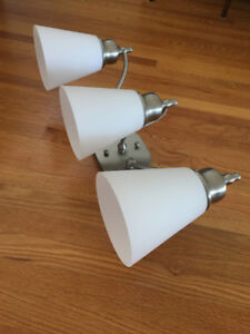 **WALL SCONCE SILVER-3 LIGHTS-EXCELLENT CONDITION-NEVER USED**