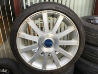 One ford alloy wheel and tyre