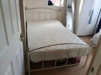"4'6"" double bed and Silent Night mattress - used only twice"