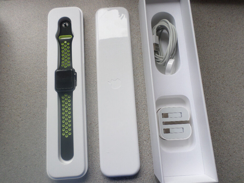 Apple Watch 38mm Series 1 Sport with extrasin Perth, Perth and KinrossGumtree - Very good condition and fully working.Screen protector fitted. Comes with box, charger , black strap and Nike sports strap. Also has 4 coloured protector frames which can make it Gold, Rose Gold, Silver or Gloss Black and a black rubber armoured...