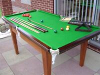 Snooker/billiards table, slate bed 6', with all accessories.