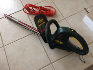 Yardworks hedge trimmer and extension cord