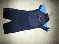 kids wetsuit shorty TWF blue size k08 used but barely worn