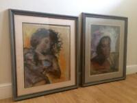 Two Large Paintings in Shabby Chic Wooden Frames