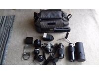 OLYMPUS OM1 N WITH ALL ACCESSORIES SHOWN IN PICTURE