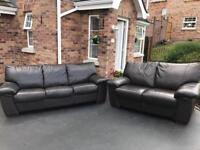 3 & 2 Harvey's brown full leather sofas suite