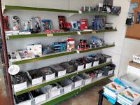 4 blocks of 1m shelves, each block has 6 adjustable shelves. Excellent condition