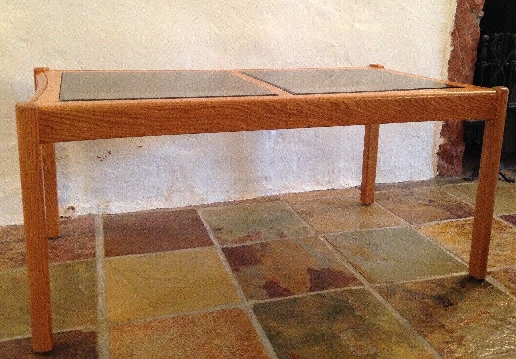 2x Ercol Glass Top Coffee Tables