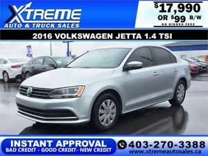2016 Volkswagen Jetta 1.4 TSI $99 bi-weekly APPLY NOW DRIVE NOW