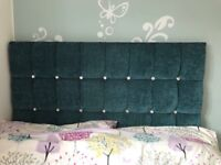 Small double (4ft) headboard in teal chenille with diamonds