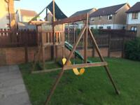 Climbing frame swings chute playhouse