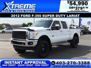 2012 FORD F-350 LARIAT LIFTED *INSTANT APPROVAL* $0 DOWN $379/B