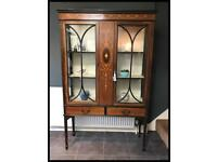 Large Antique Victorian Inlaid Mahogany Two Door Glazed Display Cabinet