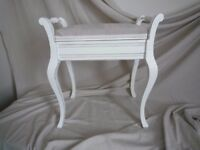 Up-cycled Shabby Chic Ivory Piano Stool with Storage