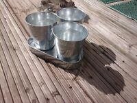 METAL POTS set of 3 WITH MATCHING TRAY now £2