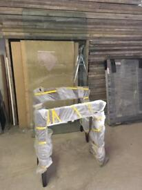 Plate Glass Table with Tressel Legs