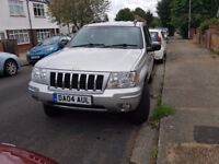 Silver 2004 JEEP GRAND CHEROKEE 2.7CRD Overland 5dr Auto, Grey Leather 105k, 4AUL personalised plate