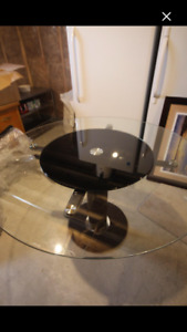 Beautiful Glass Table with Pleather Base