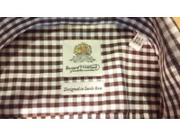 Bernard Weatherhill Savile Row Brown Checked Plaid Long Sleeve Cotton Shirt - 15.5 / 39.5cm Collar