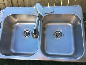 """Top-mount kitchen sink 32"""" and faucet"""