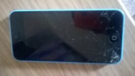iPhone 5c in blue 8GB cracked screen