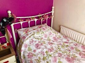 Cream single bed frame