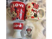 Disney Minnie Mouse mug, egg cup and shot glass set