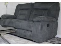 2 SEATER ALL MANUAL RECLINER SOFA IN GREY SUEDE MATERIAL FROM HARVEYS