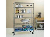 Heavy Duty Steel Wired 6 Shelve Shelf Storage Racks on Multi Directional & Wheel Locking Castors